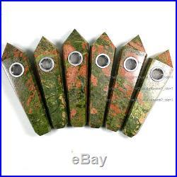 1000Pcs Natural Green/Pink Jasper Gem Crystal Wand Smoking Pipes reiki healing