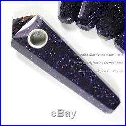100Pcs Blue Goldsand Quartz Crystal Wand Smoking Pipes reiki healing