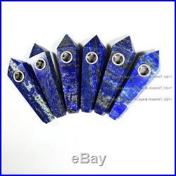 100Pcs Natural Lapis Lazuli Gem Crystal Wand Smoking Pipes reiki healing