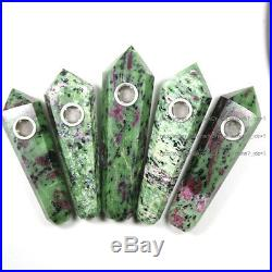 100cs Natural Red Ruby in Green Zoisite Gemstone Wand Smoking Pipes reiki heali