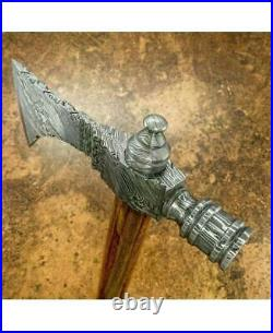 20'' Custom Handmade Damascus Steel Axe Tomahawk Hatchet Smoking Pipe Axe
