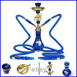 22'' Arabic Shisha Glass Hookah Bong Smoking Water Pipe SET 2 Hose Nargila Bar