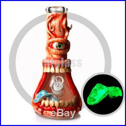 3D Handmade Heavy Glass Bong Glow in the Dark Smoking Pipe Beaker with ICE catcher