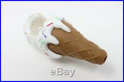 4.5 Ice Cream Cone Smoking Silicon Hand Smoking Pipe WithDetachable Glass Bowl