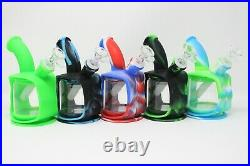 6 Silicon Water Pipe Kettle Smoking Bong Glass/Silicon Bong With Glass Bowl
