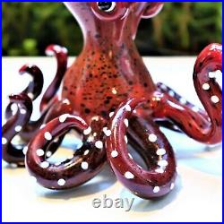 8 Brown Octopus Water Pipe Collectible Tobacco Glass Smoking Bowl Hand Pipes