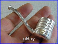 ABSOLUTELY UNIQUE SOLID STERLING SILVER & GOLD HERB SMOKING MINI PIPE 52gr