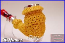Acrylic Stem Silver Rim Topkapi Meerschaum Tobacco Pipe Pfeife Pipa By H Yavuz