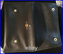 Alfred Dunhill White Spot Soft Black Leather Double Button Tobacco / Pipe Pouch