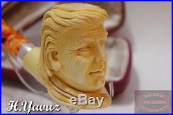 Amazing Portrait Work! Donald Trump Meerschaum Smoking Pipe Handmade By H. Yavuz