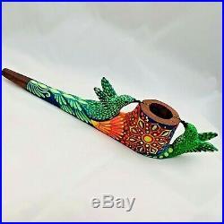 Amazonian Mapacho Tobacco Pipe Ayahuasca Inspired Hummingbird 9.5