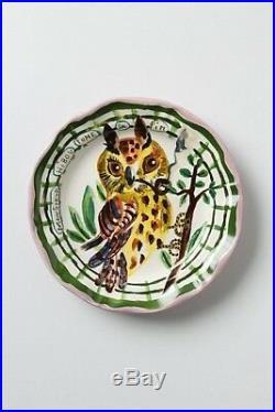 Anthropologie Nathalie Lete Gentleman Owl Smoking Pipe Francophile Plate RARE