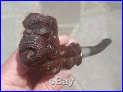 Antique c1927 New Zealand Maori Chief Carved Smoking Pipe ESTATE FIND