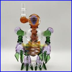 Arts Robot Glass Bong Glass Water Pipe Heady Smoking Pipe Recycler Oil Rig