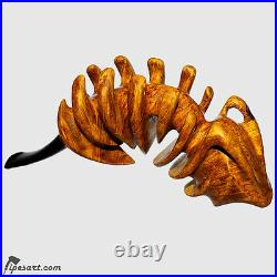 Astonishing Work Of Art Smooth Super Sculptural Fish-fossil Smoking Pipe-sava