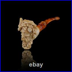 Bacchus head Meerschaum Pipe hand carved smoking pipe tobacco pfeife with case