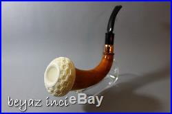 Basket Bowl Very Rare African Gourd Block Meerschaum Bowl Calabash Tobacco Pipe