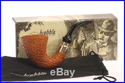 Brebbia First Calabash 925 Silver Band Rustic Briar Tobacco Pipe
