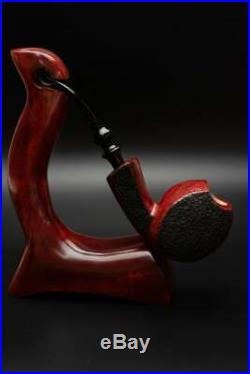 Briar Wood Pipe Tobacco Smoking Rusticated Wooden Bowl Handmade Freehand KAFpipe