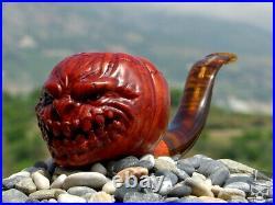 Briar Wood Portrait Tobacco Pipe Bust of Pumpkin Brother by Oguz Simsek