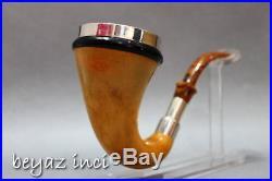 C124 Original African Gourd Calabash Block Meerschaum Stone Bowl Tobacco Pipe
