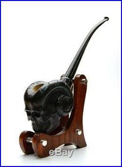 Carved Tobacco Pipe Demon Skull Black Color Long Stem Churchwarden Smoking pipe