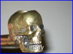 Cast Brass Skull Tobacco Pipe By Robert Benjamin