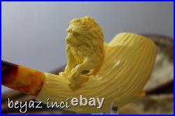 Churchwarden Stem Lion Meerschaum Smoking Pipe Pfeife Handmade Unused By Karahan