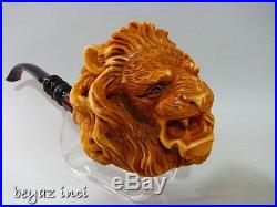 Collectible Angry Lion Meerschaum Smoking Pipe Pfeife Pipa By Kenan
