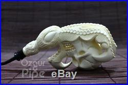 Collectible Skull In Eagle Claw Meerschaum Smoking Pipe Pfeife Handmade Unused