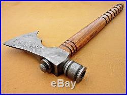 Custom Handmade Smoking Pipe Tomahawk Axe Forged Damascus Steel & Leather Sheath