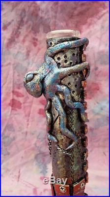 Custom Handmade Steampunk 12 Blue Octopus Water Pipe Bong Glass Bubbler Smoking