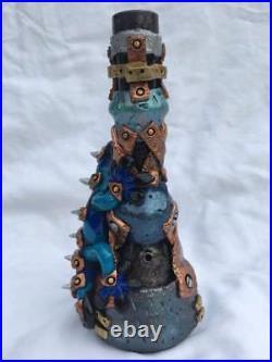 Custom Handmade Steampunk 7 Black Blue Lizard Water Pipe Glass Bubbler Smoking