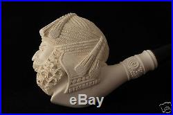 Deluxe Sultan Hand Carved Block Meerschaum Smoking Pipe in a fit CASE 5602 New