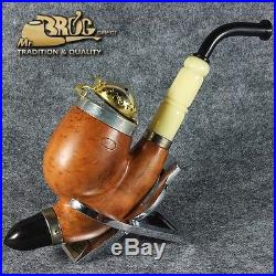 EXCLUSIVE HAND MADE & SMOOTH BRIAR wood smoking pipe QUEEN Kaiser style