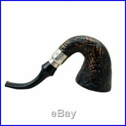 FIRST CALABASH briar rustic tobacco smoking pipe with silver ring by Brebbia