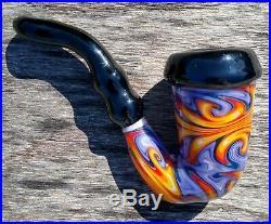 Fire Water Holmes Style Linework Glass Tobacco Pipe Sherlock