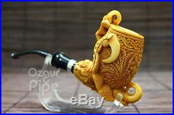 Floral Bowl Eagle's Claw With 925 Silver Ring Meerschaum Smoking Pipe Pfeife