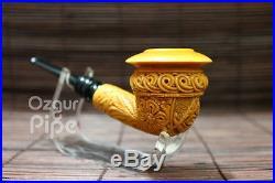 Floral Masonic Freemason Topkapi Meerschaum Smoking Tobacco Pipe Pipa Pfeife