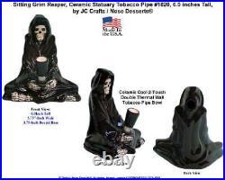 Grim Reaper Skull Water Hookah Bong Ceramic Glass Tobacco Pipe 1820 Made in USA