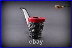 HAND MADE WOODEN TOBACCO SMOKING PIPE PEAR no 48 Rustic Red + Filter