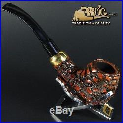 Hand made Mr. Brog original smoking pipe nr. 124 TEAK -BARK BENT ARMY briar