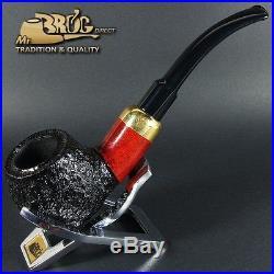 Hand made Mr. Brog original smoking pipe nr. 124 TEAK carved BENT ARMY briar