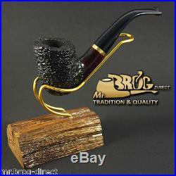 Hand made Mr. Brog original smoking pipe nr 90 burgundy bowl carved STEWARD