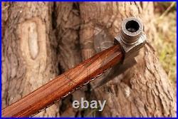Handmade Damascus Steel Blade Functional Smoking Pipe Tomahawk Rose Wood Handle