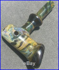 Heady Fume Foldover Glass Hammer Pipe Borosilicate Tobacco Pipe Encased Opal