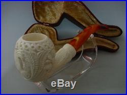 Horse Embossed Floral Apple Meerschaum Smoking Pipe Pfeife Pipa Handmade Unused