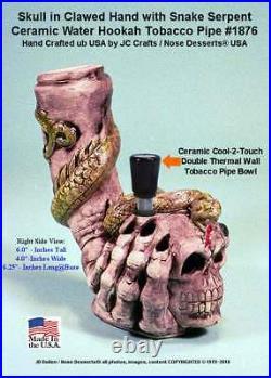 Human Skull Claw Serpent Rumph Ceramic Glass Water Hookah Bong Tobacco Pipe 1876