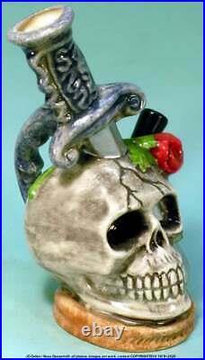 Human Skull Knife Handle Ceramic Glass Rumph Water Hookah Bong Tobacco Pipe 1877
