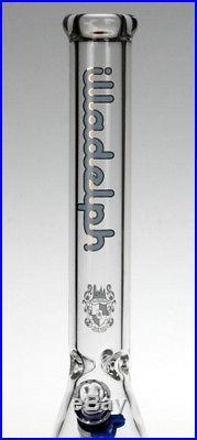 Illadelph 17 BEAKER BOTTOM TUBE GLASS HOOKAH RIG TOBACCO PIPE BLUE